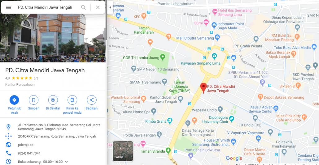google map pd cmjt perusda citra mandiri jawa tengah website lokasi