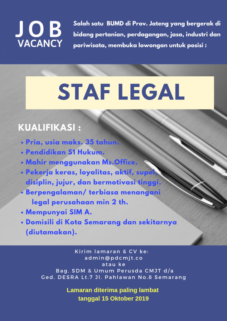 Lowongan Kerja Staf Legal Perusda Citra Mandiri Jawa Tengah