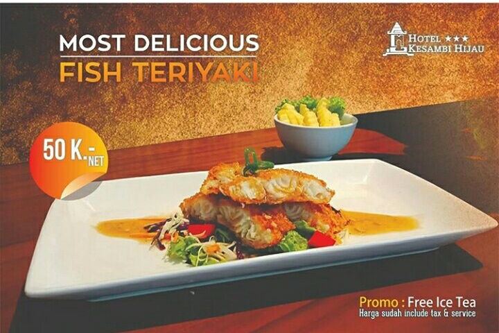 Most Delicious Fish Teriyaki at Arum Resto Kesambi Hotel Semarang only 50.000 (IDR)